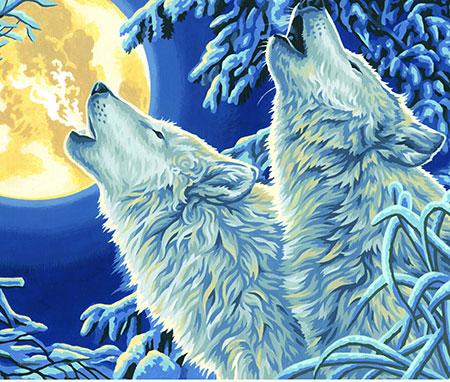 Heulende Wölfe im Mondlicht