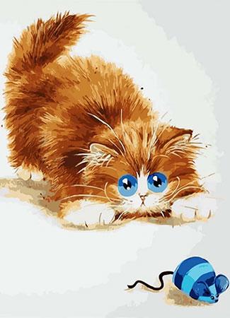 Malen nach Zahlen Bild Diamond Painting - Katze und Maus - LE073e von Protsvetnoy