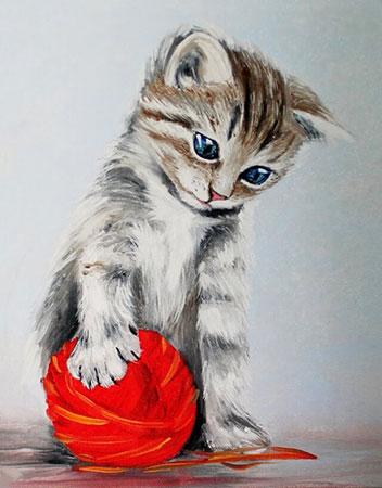 Malen nach Zahlen Bild Diamond Painting - Kätzchen mit Ball - LG012e von Sonstiger Hersteller