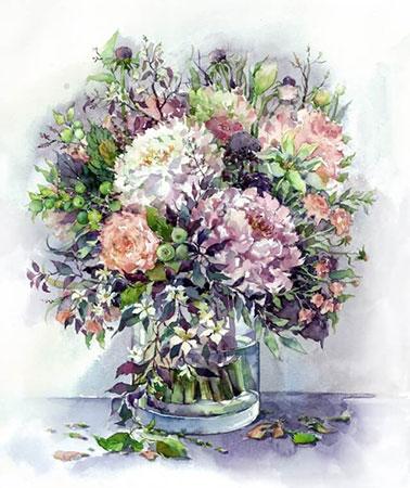 Malen nach Zahlen Bild Diamond Painting - Bouquet mit Pfingstrosen und Kräutern - LG026e von Protsvetnoy