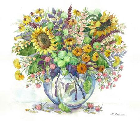 Malen nach Zahlen Bild Diamond Painting - Sonnenblumen in der Vase - LG027e von Protsvetnoy