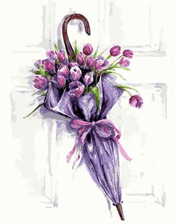 Diamond Painting - Regenschirm mit Blumen