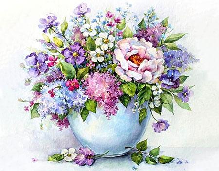 Malen nach Zahlen Bild Diamond Painting - Zarte Blumen in einer weißen Vase - LG147e von Sonstiger Hersteller
