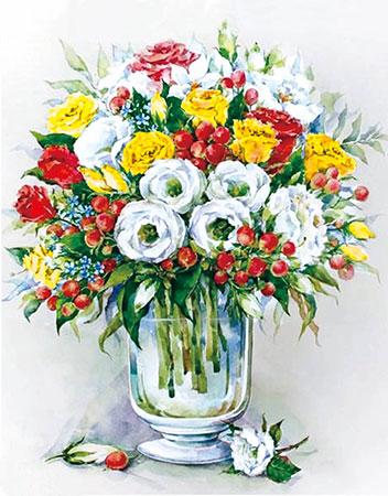 Malen nach Zahlen Bild Diamond Painting - Strauß mit roten Beeren - LG148e von Protsvetnoy