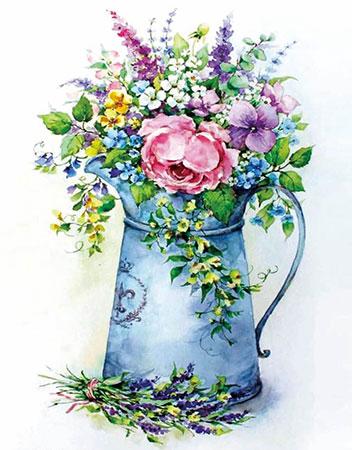 Malen nach Zahlen Bild Diamond Painting - Romantisches Bouquet mit Gießkanne - LG149e von Protsvetnoy