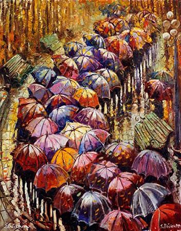 Malen nach Zahlen Bild Diamond Painting - Herbstliche Regenschirme - LG152e von Sonstiger Hersteller