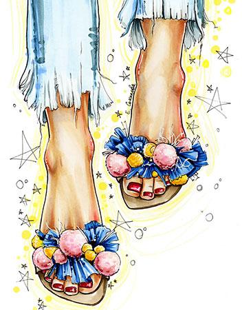 Diamond Painting - Blumige Schuhe