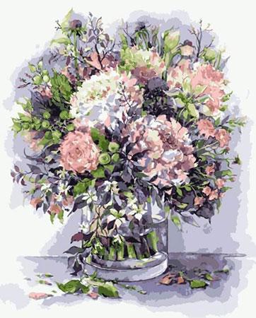 Bouquet mit Pfingstrosen und Kräutern