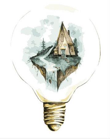 Malen nach Zahlen Bild Haus in einer Glühbirne - MG2072e von Protsvetnoy