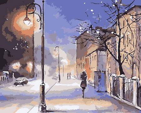 Schneesturm am Abend