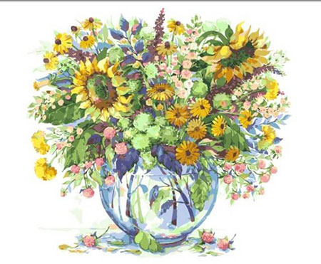 Malen nach Zahlen Bild Sonnenblumen in der Vase - mg2062e von Protsvetnoy