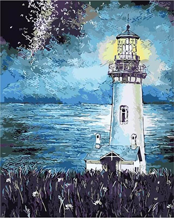Malen nach Zahlen Bild Leuchtturm in der Nacht - mg2093e von Protsvetnoy