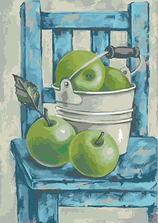 Malen nach Zahlen Bild Stillleben mit Grüne Äpfel - mg2105e von Protsvetnoy