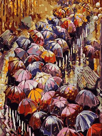 Herbstlich bunte Regenschirme