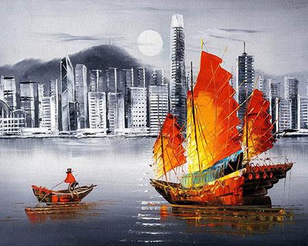 Malen nach Zahlen Bild Hong Kong bei Nacht - mg2164e von Protsvetnoy