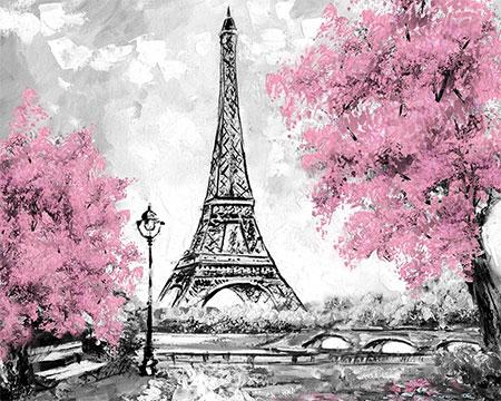 Malen nach Zahlen Bild Kirschblüte am Eiffelturm - mg2166e von Protsvetnoy