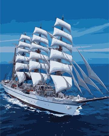 Malen nach Zahlen Bild Schneeweißes Segelboot - mg3240e von Protsvetnoy