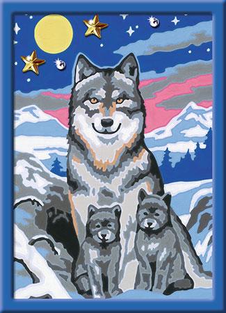 Malen nach Zahlen Bild Süße Wolfsfamilie - 27784 von Ravensburger
