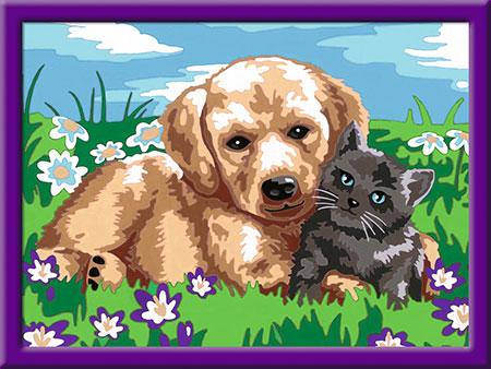 Malen nach Zahlen Bild Hund und Katze - 27789 von Ravensburger
