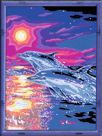 Malen nach Zahlen Bild Delfine im Sonnenuntergang - 28558 von Ravensburger