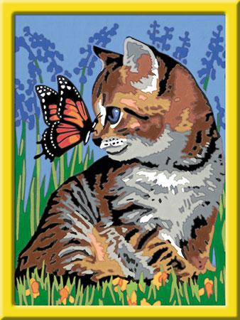 Malen nach Zahlen Bild Katze mit Schmetterling - 28651 von Ravensburger