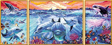 Malen nach Zahlen Bild Farbenfrohe Unterwasserwelt - Triptychon - 28954 von Ravensburger