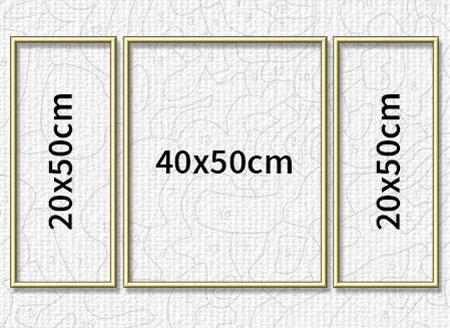 Malen-nach-Zahlen-Zubehör Goldfarbener Aluminium Bilderrahmen für Triptychons 80 x 50 cm