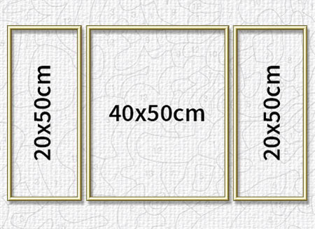 Goldfarbener Aluminium Bilderrahmen für Triptychons 80 x 50 cm