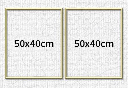 Malen-nach-Zahlen-Zubehör Zwei goldfarbene Aluminium Bilderrahmen für Diptychon 50 x 80 cm