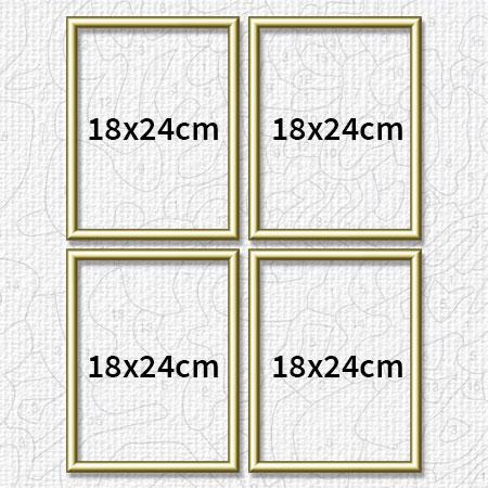 Vier goldfarbene Aluminium Bilderrahmen 18 x 24 cm