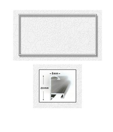 Silberfarbener Aluminium Bilderrahmen 40 x 80 cm
