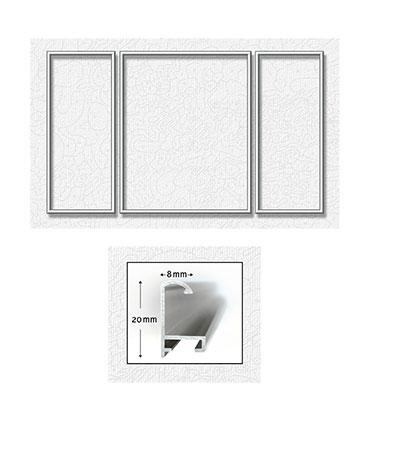 Silberfarbener Aluminium Bilderrahmen für Triptychons 50 x 80 cm