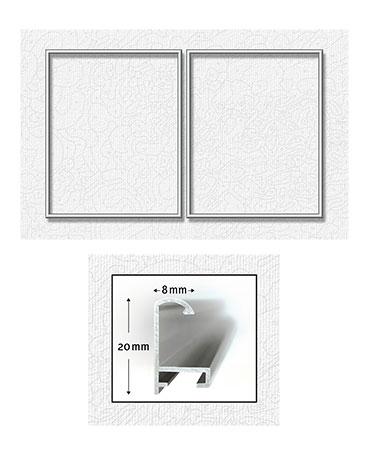 Malen-nach-Zahlen-Zubehör Zwei silberfarbene Aluminium Bilderrahmen für Diptychon 50 x 80 cm