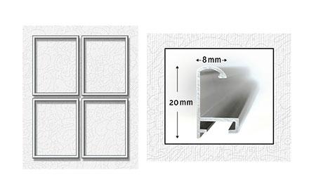 Vier silberfarbene Aluminium Bilderrahmen 18 x 24 cm