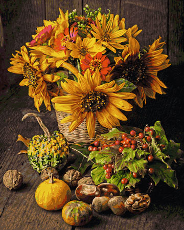 Malen nach Zahlen Bild Buntes Herbst-Stillleben - 609130734 von Schipper