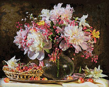 Malen nach Zahlen Bild Blumenstrauß mit Kirschen - 609130773 von Schipper