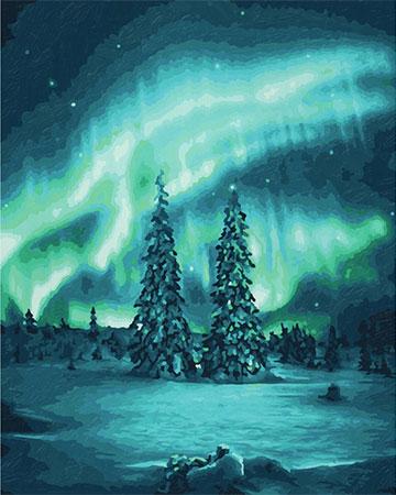 Malen nach Zahlen Bild Polarlichter - 609130813 von Schipper