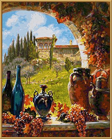 Malen nach Zahlen Bild Wein aus der Toskana - 609130840 von Schipper