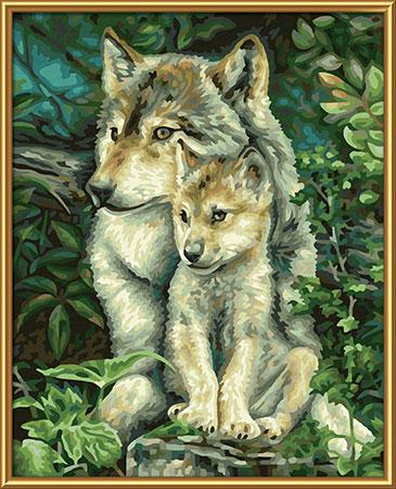 Fürsorgliche Wolfsmutter