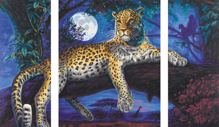 Malen nach Zahlen Bild Afrika - Jäger in der Nacht - Triptychon - 609260607 von Schipper
