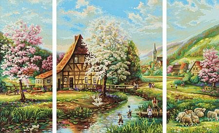Malen nach Zahlen Bild Ländliche Idylle - Triptychon - 609260664 von Schipper