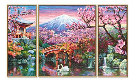 Malen nach Zahlen Bild Kirschblüte in Japan - Triptychon - 609260751 von Schipper
