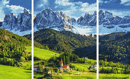 Malen nach Zahlen Bild St. Magdalena in Südtirol - Triptychon - 609260760 von Schipper
