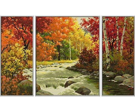 Malen nach Zahlen Bild Flusslandschaft - Triptychon - 609260779 von Schipper