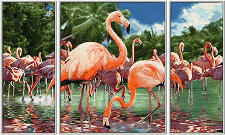 Malen nach Zahlen Bild Flamingos - Triptychon - 609260782 von Schipper