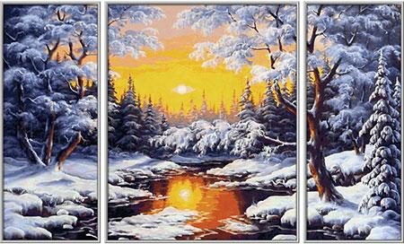 Malen nach Zahlen Bild Ein Wintertraum - Triptychon - 609260786 von Schipper