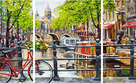 Malen nach Zahlen Bild Amsterdam - Triptychon - 609260812 von Schipper