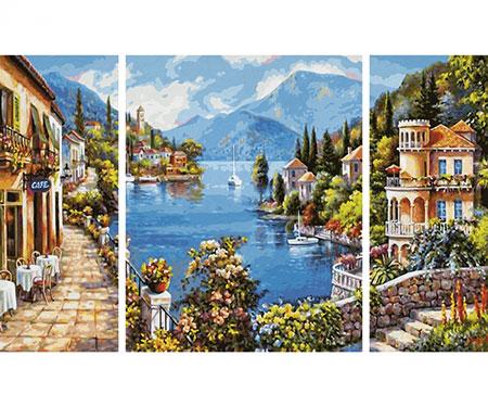 Malen nach Zahlen Bild Lago Romantico - Triptychon - 609260818 von Schipper