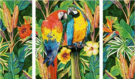 Papageien im Regenwald (Triptychon)