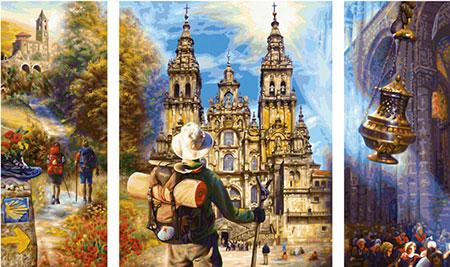 Malen nach Zahlen Bild Der Jakobsweg (Triptychon) - 609260854 von Schipper